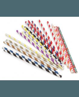 Canudinhos de papel em cores variadas