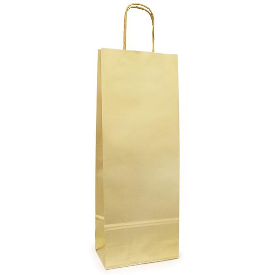 Sacola Garrafa Vinho Dourada