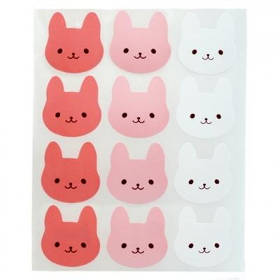 Pegatinas infantiles caras de conejito
