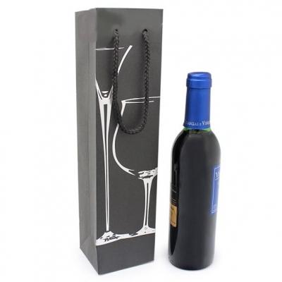 Bolsa para garrafa de Vinho Preta 3/8, Copas Prateadas