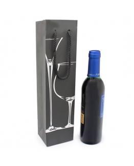 Saco para vinho 3/8 com taças prateadas