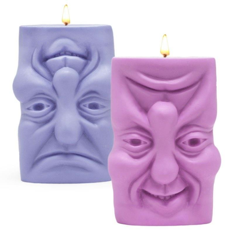 Molde velas rosto triste e rosto feliz