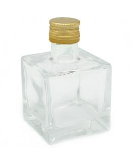 Botella mikado cuadrada tapon dorado 100