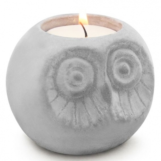 Porta-velas coruja redonda