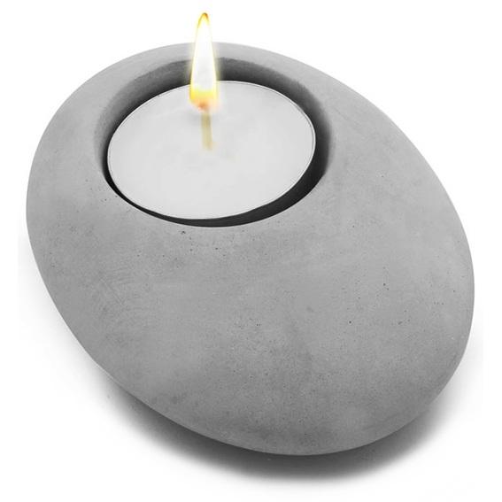 Porta- velas de cimento formato pedra