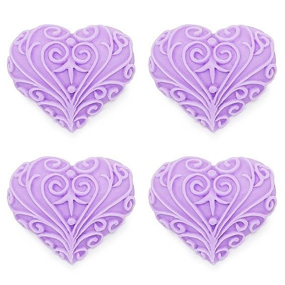Moldes de corações enfeitados