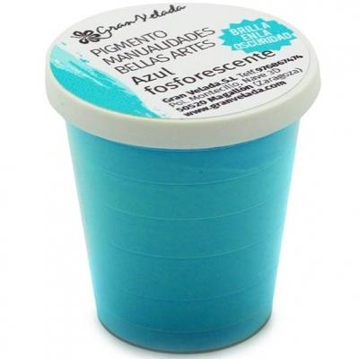 Pigmento para manualidades, Azul Fosforescente. (brilha na escuridão)