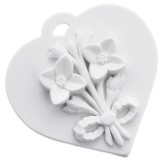 Forma cerâmica perfumada coração com bouquet