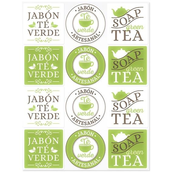 Adesivos Sabão de Chá Verde
