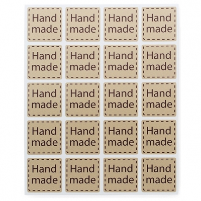 Pegatinas para produtos artesanos, Quadradinhos Hand Made, blíster de 20.