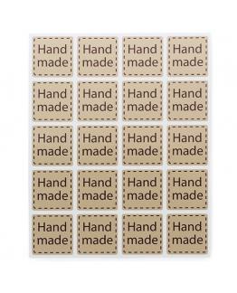 Pegatinas para produtos artesanos Quadradinhos Hand Made, blíster de 20