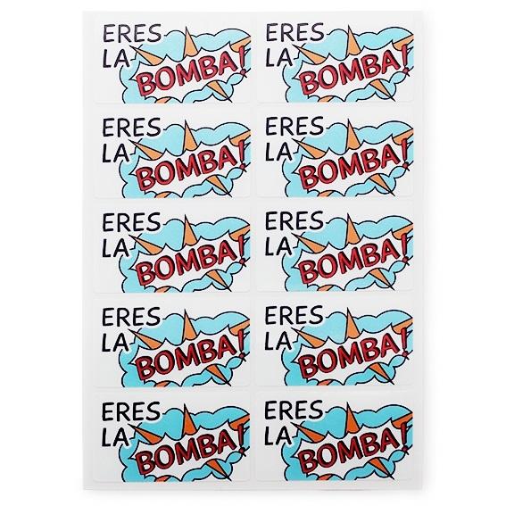 "Etiquetas pop art ""eres la bomba"""