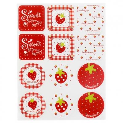 Pegatinas para decorar dulce de fresas