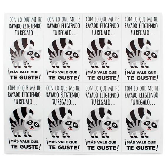 Adesivos para presentes guaxinim (mapache)