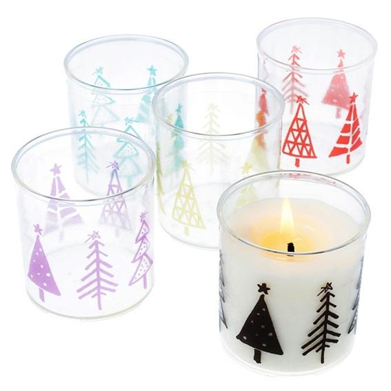 Copos para velas com arvores de Natal