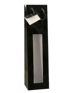 Bolsa negra para botella de vino 3/4 con ventana