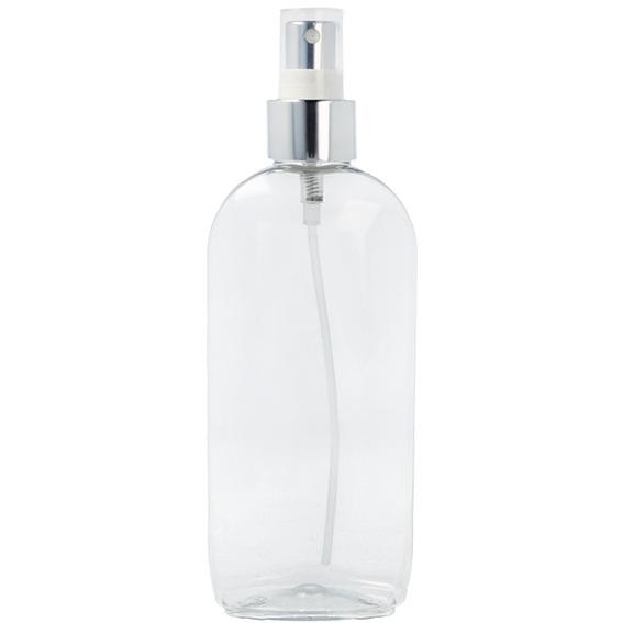 Botella ovalada 250 ml pulverizador plata