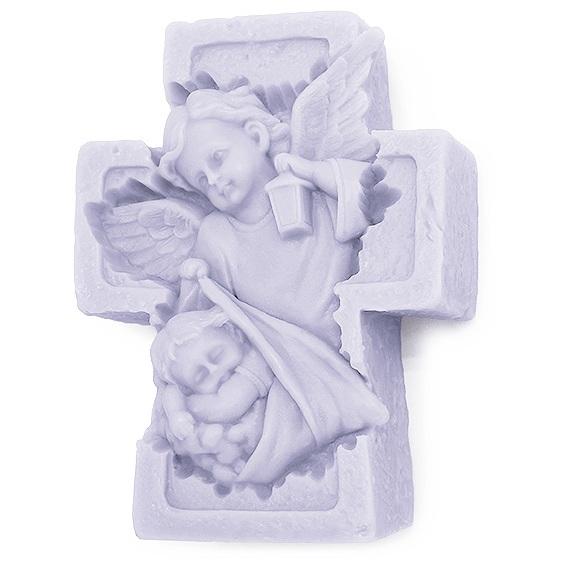 Molde velas cruz con angel de la guarda