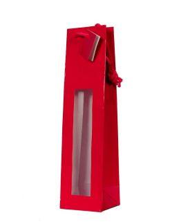 Bolsa roja para botella 3/4 con ventana