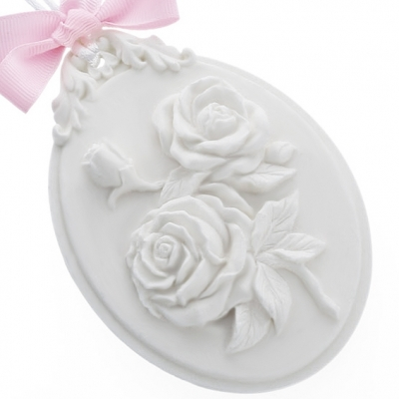 Molde ceramica perfumada medallon con rosas