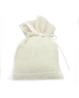 Saquinhos de Lino Beige, com renda e Laço branco Grosgrain, 10 x16 cm.