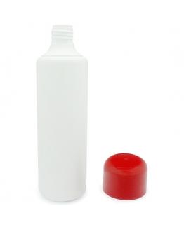 Garrafa PP branca 500 ml tampa vermelha