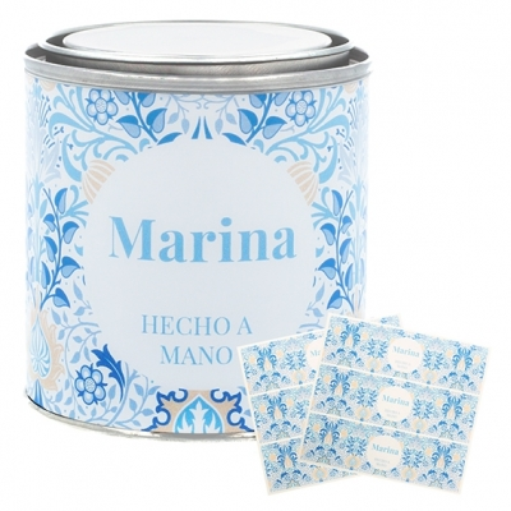 Adesivos personalizaveis flores persas azuis