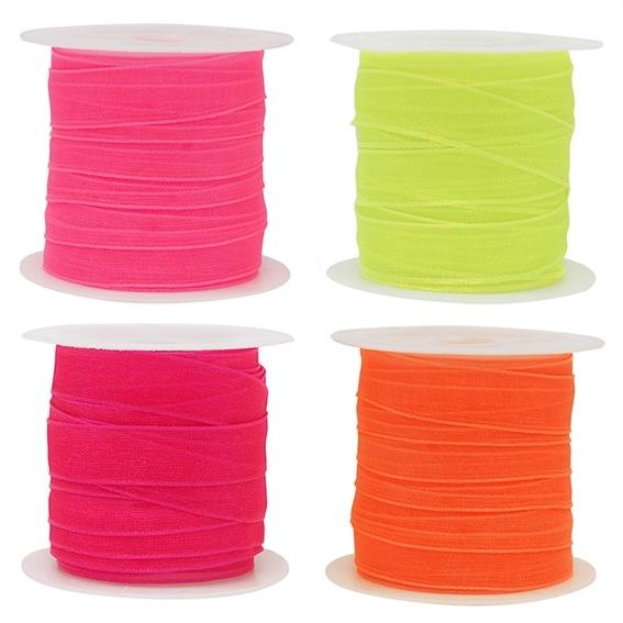 Cintas organza pack 4 colores neon