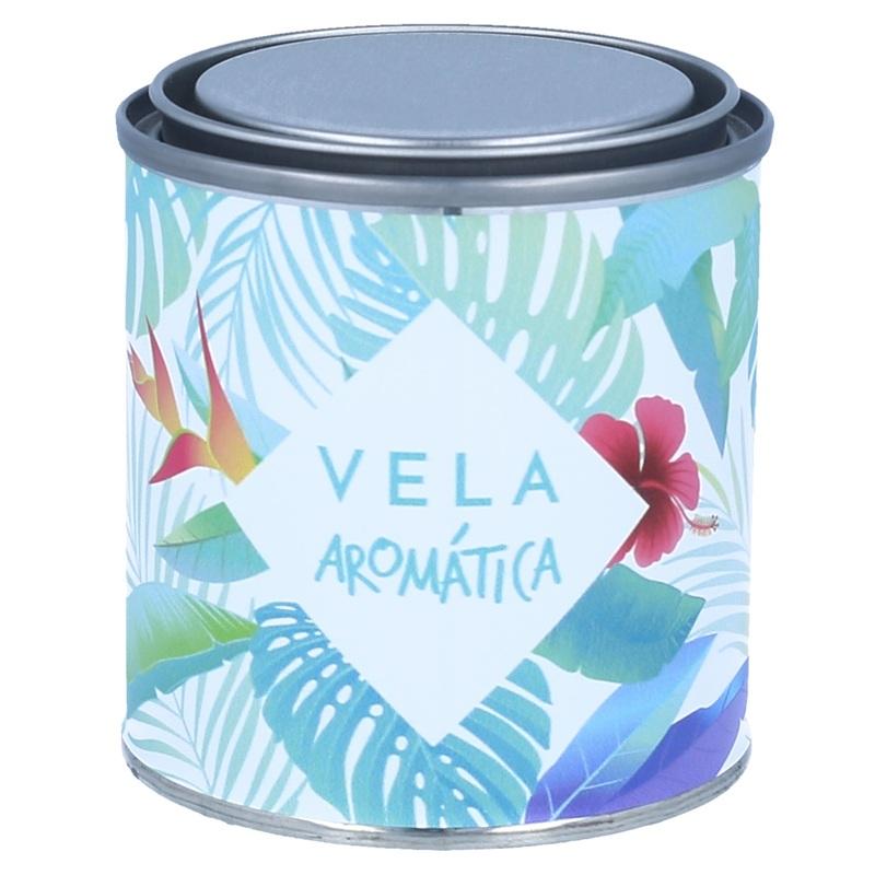 Pegatinas latas velas tropicales azules