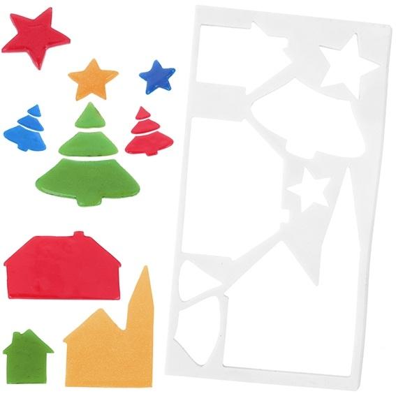 Molde figuras para ventanas paisaje de navidad