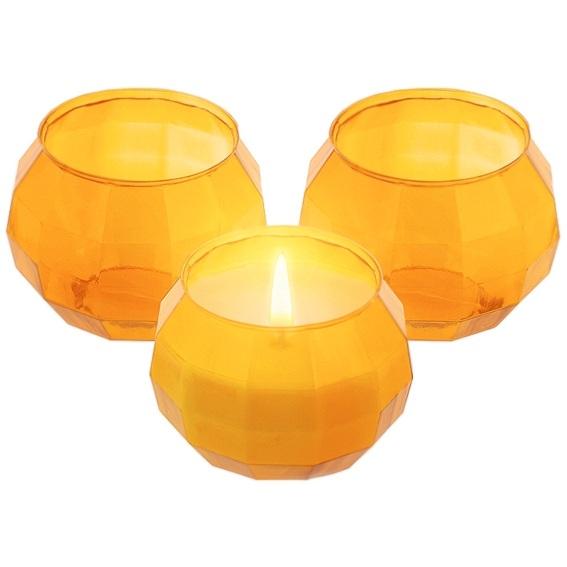Envase para velas cuenco geometrico naranja
