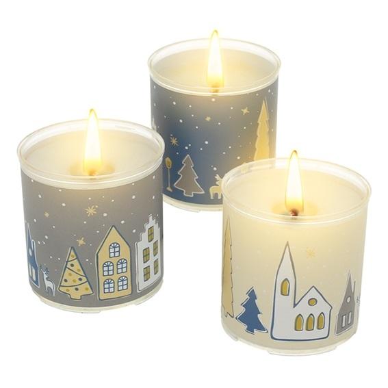 Kit como hacer velas navideñas pueblo nevado. Materiales e instrucciones