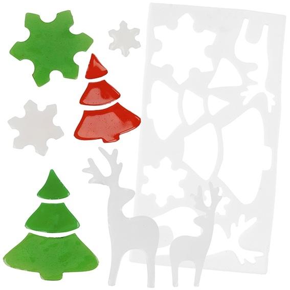 Molde figuras para ventanas bosque de navidad