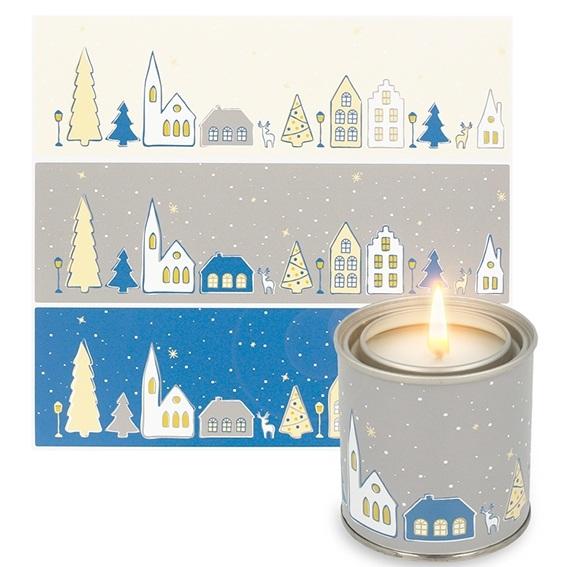 Pegatinas pueblo nevado tonos azules para velas en lata