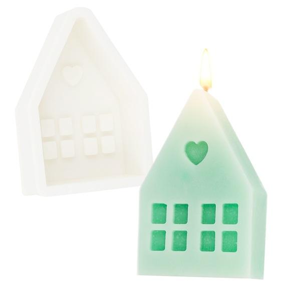 Molde de casa de navidad pequeña para velas