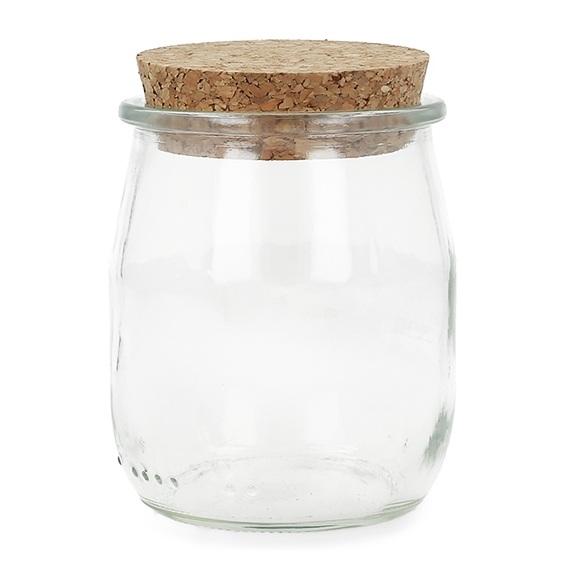 Vaso yogur cristal corcho