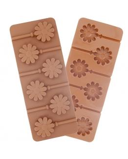 Molde piruletas chocolate flores