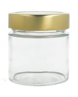 Tarro cristal 200 ml tapa dorada