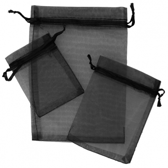 Sacos de organza cor preta