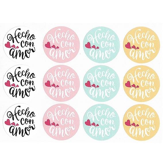 Pegatinas redondas hecho con amor
