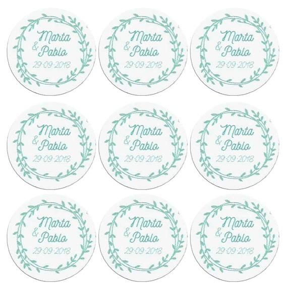 Adesivos personalizados redondas coroa floral