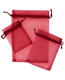 Saquinhos de organza tons vermelhos