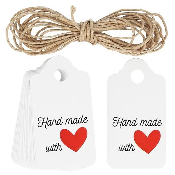 Etiquetas blancas rectangulares hand made with love