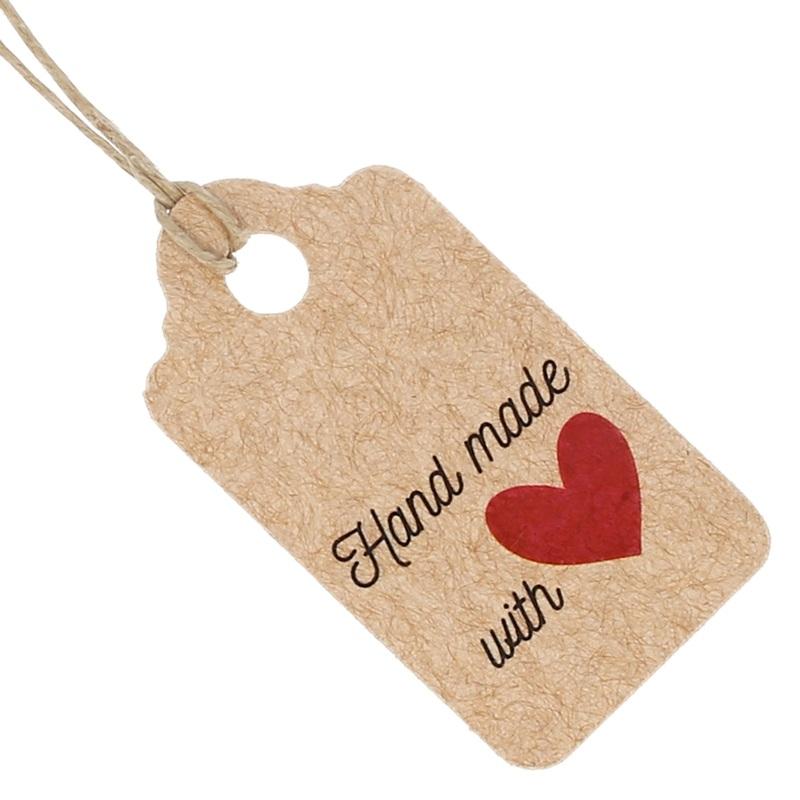 Etiquetas kraft rectangulares hand made with love