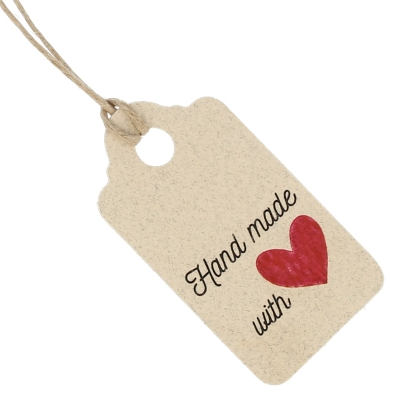 Etiquetas carton reciclado rectangulares hand made with love