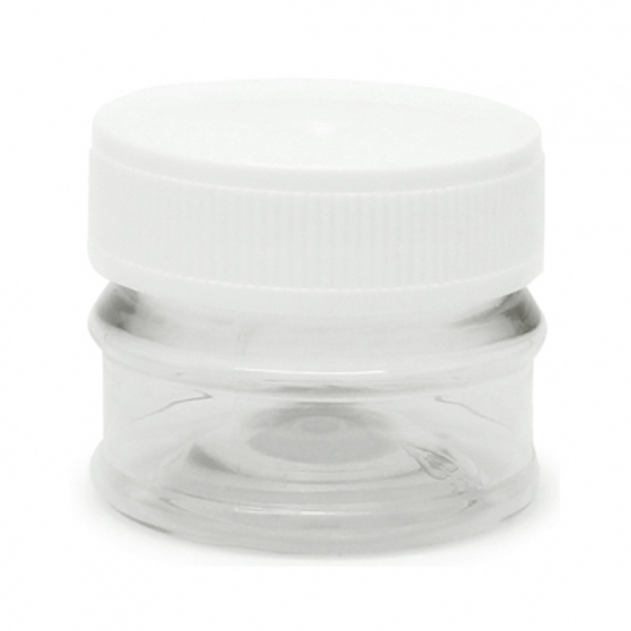 Tarros transparentes 30 ml tapa blanca por mayor
