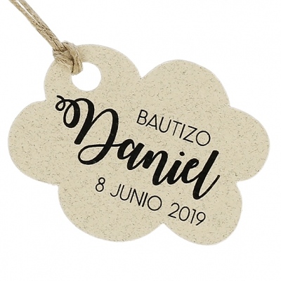 Etiquetas de cartao batismo personalizadas nuvens