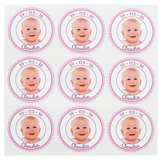 Pegatinas personalizadas con foto niña