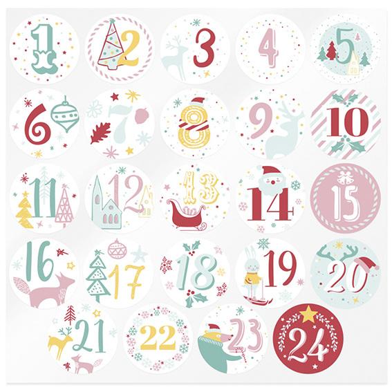 Pegatinas calendario de adviento