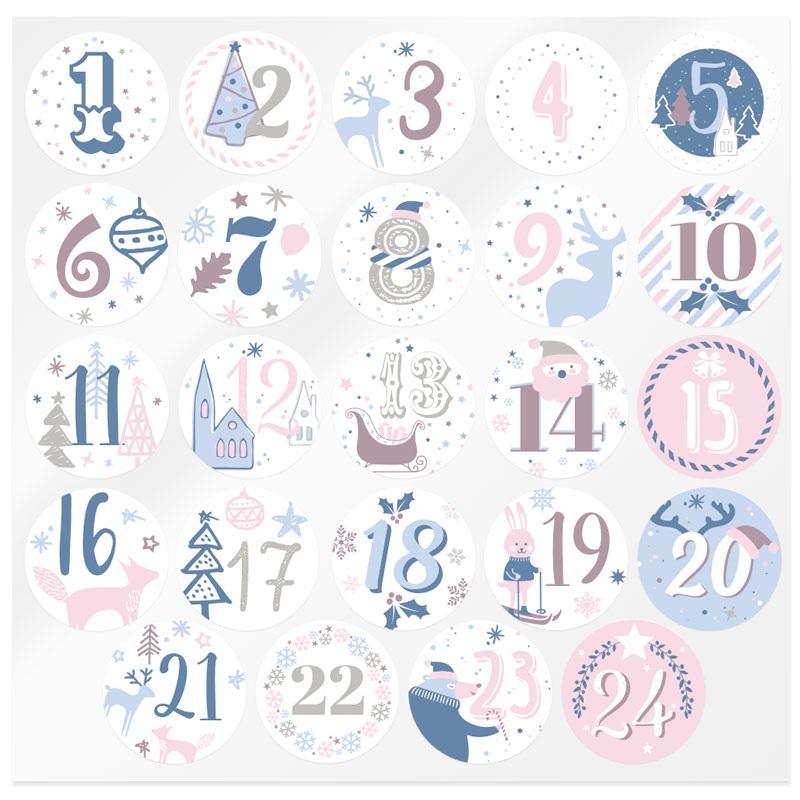 Pegatinas calendario de adviento rosas y azules